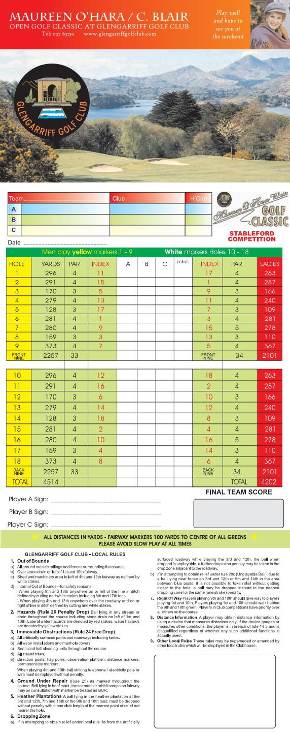 Glengarriff Golf Course Score Card